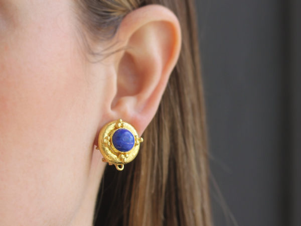 Elizabeth Locke Round Lapis Earrings with Gold Triads with Detachable Lapis Drop Earrings model shot #2