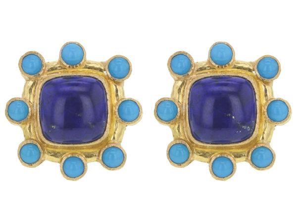 Elizabeth Locke Square Cushion Lapis and Sleeping Beauty Turquoise Earrings thumbnail