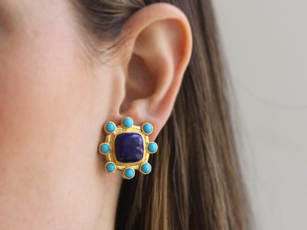 Elizabeth Locke Square Cushion Lapis and Sleeping Beauty Turquoise Earrings