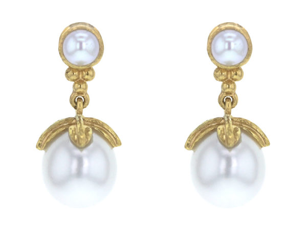 Elizabeth Locke Pearl and Bottom Gold Triad with Swinging Pearl with Leaf Cap Drop Earrings thumbnail