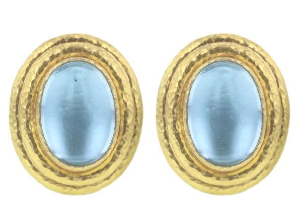 Elizabeth Locke Vertical Oval Aquamarine Triple Bezel Earrings thumbnail