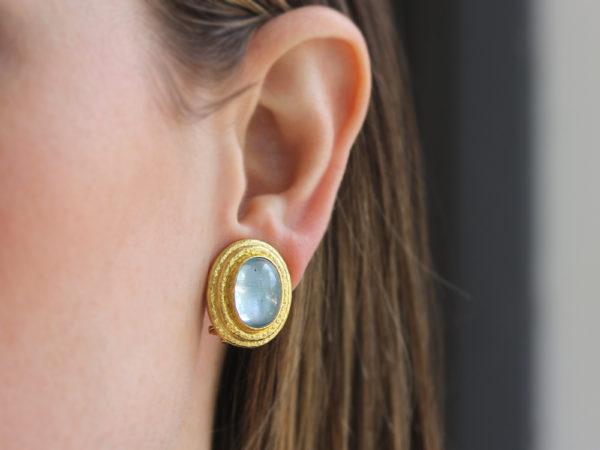 Elizabeth Locke Vertical Oval Aquamarine Triple Bezel Earrings