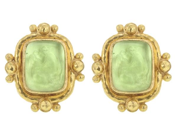 "Elizabeth Locke Lime Venetian Glass Intaglio ""Woman with Swan"" With Gold Dot Earrings thumbnail"