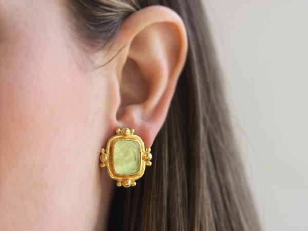 """Elizabeth Locke Lime Venetian Glass Intaglio """"Woman with Swan"""" With Gold Dot Earrings"""