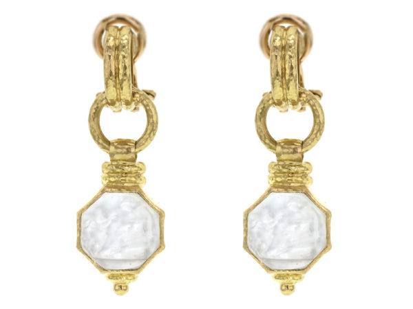 "Elizabeth Locke Crystal Venetian Glass Intaglio ""Donna Putto"" Double-Banded Cheerio Drop Earrings thumbnail"