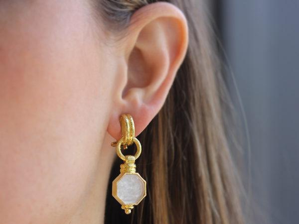 "Elizabeth Locke Crystal Venetian Glass Intaglio ""Donna Putto"" Double-Banded Cheerio Drop Earrings"