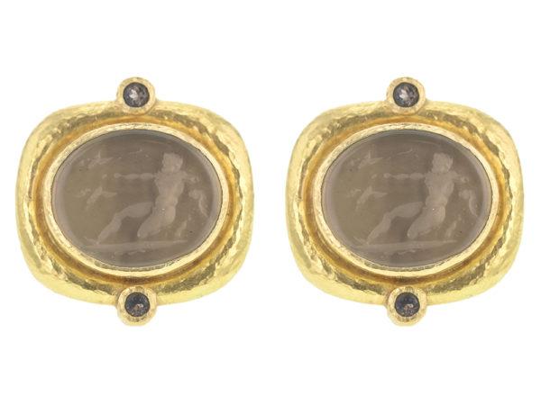 "Elizabeth Locke Bronze Venetian Glass Intaglio ""Oval Archer"" Earrings with Round Faceted Smoky Quartz thumbnail"