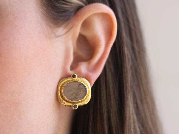 "Elizabeth Locke Bronze Venetian Glass Intaglio ""Oval Archer"" Earrings with Round Faceted Smoky Quartz"