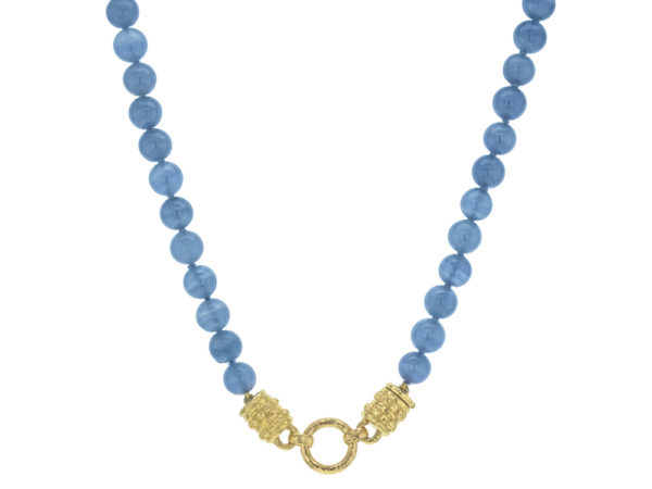 """Elizabeth Locke 17"""" """"Bettina"""" Clasp Necklace With 8mm Blue Calcite Beads thumbnail"""