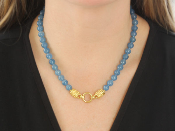"""Elizabeth Locke 17"""" """"Bettina"""" Clasp Necklace With 8mm Blue Calcite Beads"""