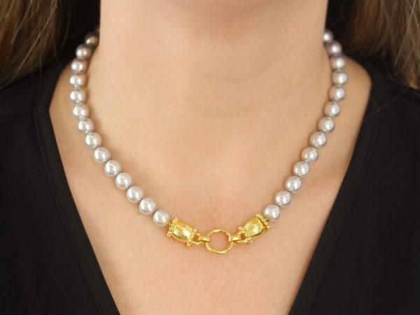 "Elizabeth Locke 17"" Granulated ""Lucrezia"" Clasp Necklace With 8.5-9mm Silver Akoya Pearls"
