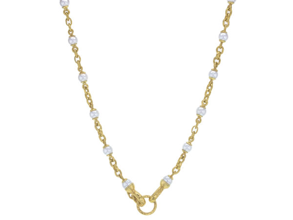 "Elizabeth Locke 17"" Akoya Pearl and Small Gold Link Necklace with Gold Circle Clasp thumbnail"