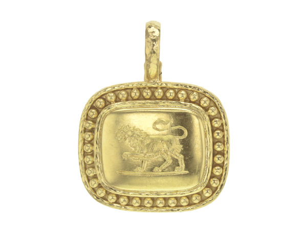 "Elizabeth Locke Cushion ""Lion"" with Granulation Pendant thumbnail"