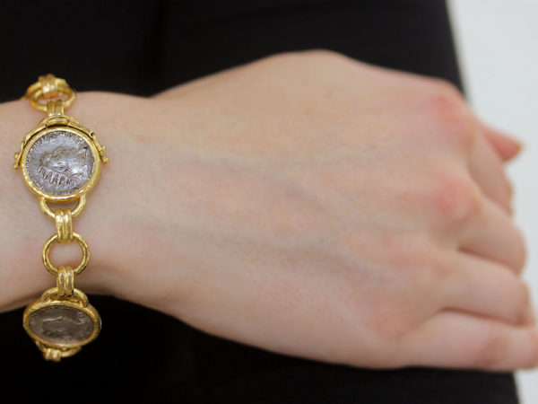 Elizabeth Locke Ancient Roman Silver Coins Link Bracelet model shot #2