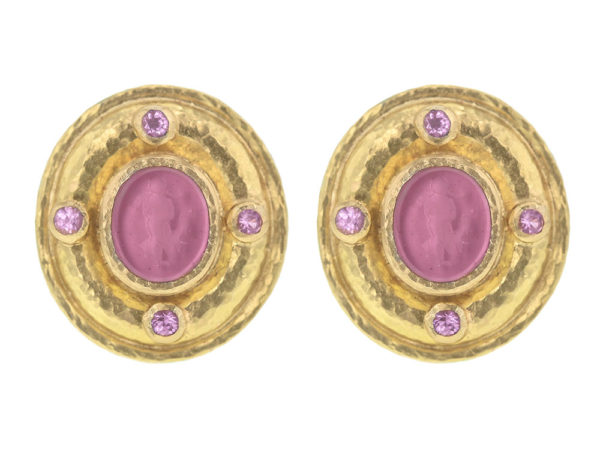 """Elizabeth Locke Pink Venetian Glass Intaglio """"Micro Angel and Dog"""" Earrings with Faceted Moonstone thumbnail"""