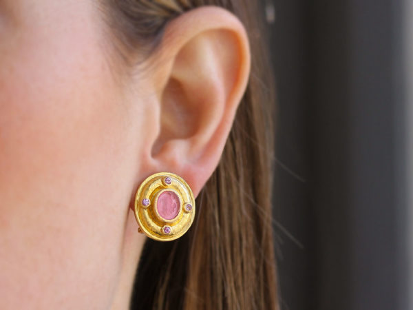 """Elizabeth Locke Pink Venetian Glass Intaglio """"Micro Angel and Dog"""" Earrings with Faceted Moonstone"""