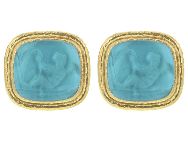 "Elizabeth Locke Teal Venetian Glass Intaglio ""Cherub with Sails"" Earrings thumbnail"