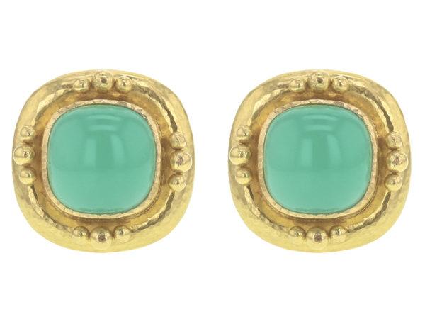 Elizabeth Locke Cushion Chrysoprase Earrings with Four Gold Triads thumbnail
