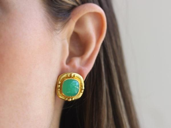 Elizabeth Locke Cushion Chrysoprase Earrings with Four Gold Triads