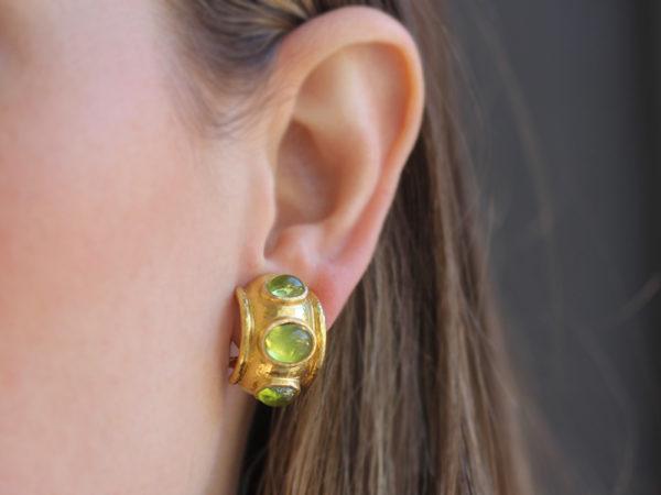 Elizabeth Locke Puffy Cabochon Peridot Hoop Earrings