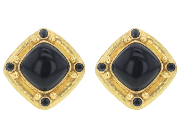 "Elizabeth Locke Cabochon ""Rombo"" Cushion Onyx Earrings with Black Spinel thumbnail"