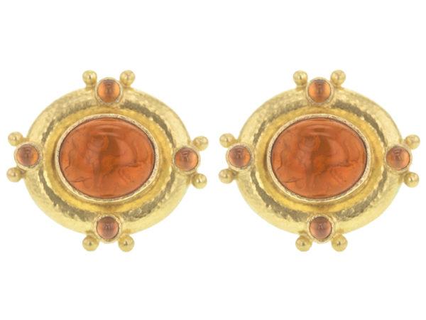 "Elizabeth Locke Amber Venetian Glass Intaglio ""Cab Quadriga"" & Cabochon Citrine Earrings thumbnail"