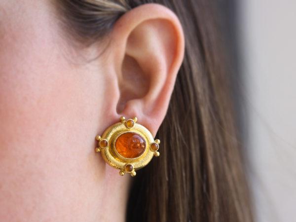 "Elizabeth Locke Amber Venetian Glass Intaglio ""Cab Quadriga"" & Cabochon Citrine Earrings"