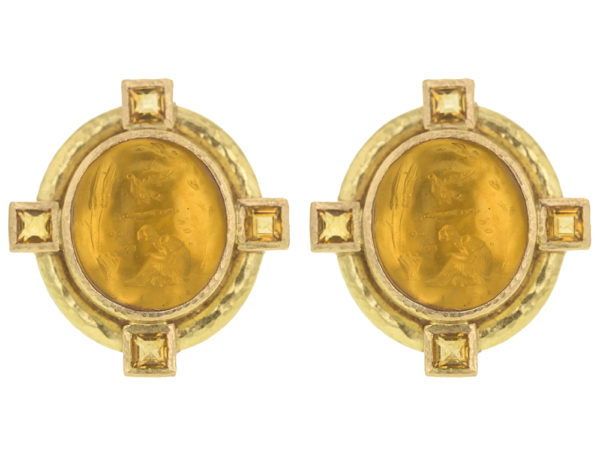 "Elizabeth Locke Light Amber Venetian Glass Intaglio ""Cab Boy and Bird"" Earrings with Faceted Citrine Stones thumbnail"