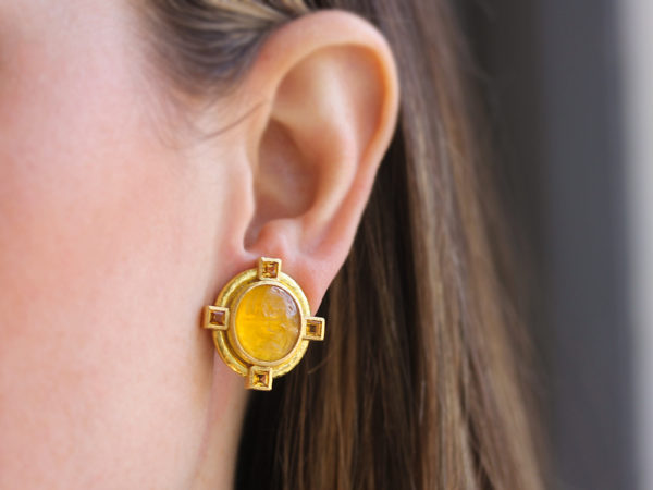 "Elizabeth Locke Light Amber Venetian Glass Intaglio ""Cab Boy and Bird"" Earrings with Faceted Citrine Stones"
