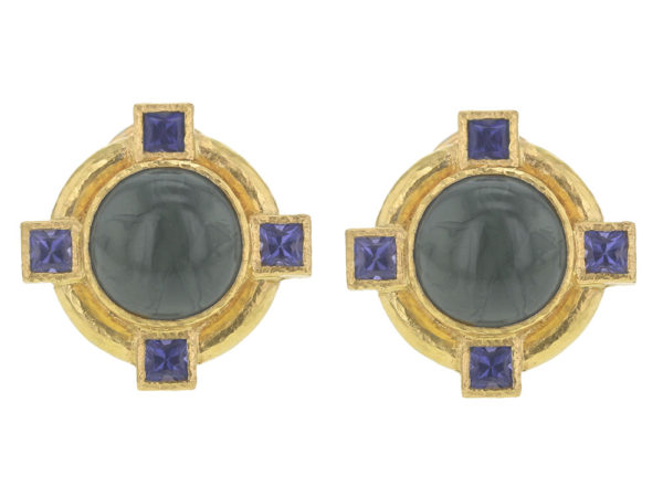 """Elizabeth Locke Smoke Venetian Glass Intaglio """"Cab Putto and Duck"""" Earrings with Faceted Iolite thumbnail"""