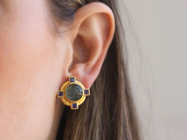 """Elizabeth Locke Smoke Venetian Glass Intaglio """"Cab Putto and Duck"""" Earrings with Faceted Iolite"""