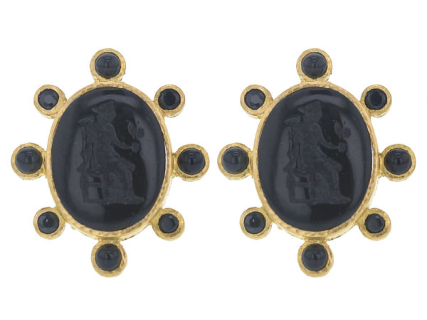 """Elizabeth Locke Black Venetian Glass Intaglio """"Goddess with Wheat"""" Earrings with Faceted Black Spinel and Onyx Halo thumbnail"""
