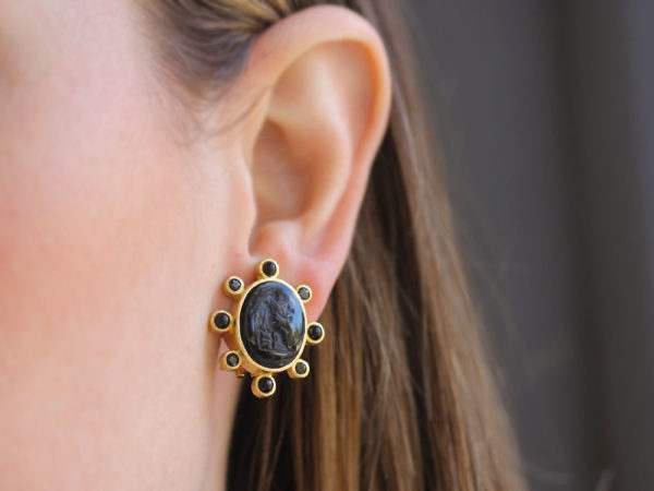 """Elizabeth Locke Black Venetian Glass Intaglio """"Goddess with Wheat"""" Earrings with Faceted Black Spinel and Onyx Halo"""