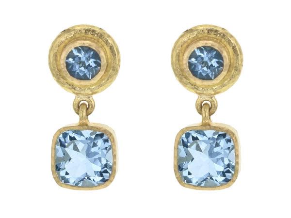 Elizabeth Locke Aquamarine Drop Stud Earrings with Swinging Aqua Bottoms thumbnail