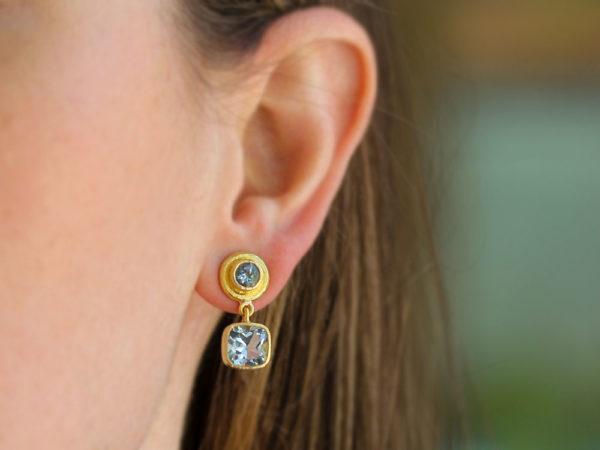 Elizabeth Locke Aquamarine Drop Stud Earrings with Swinging Aqua Bottoms