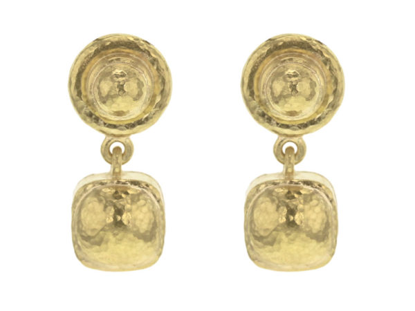 Elizabeth Locke Gold Drop Top Stud Earrings with Swinging Gold Dome Cushion Bottom thumbnail