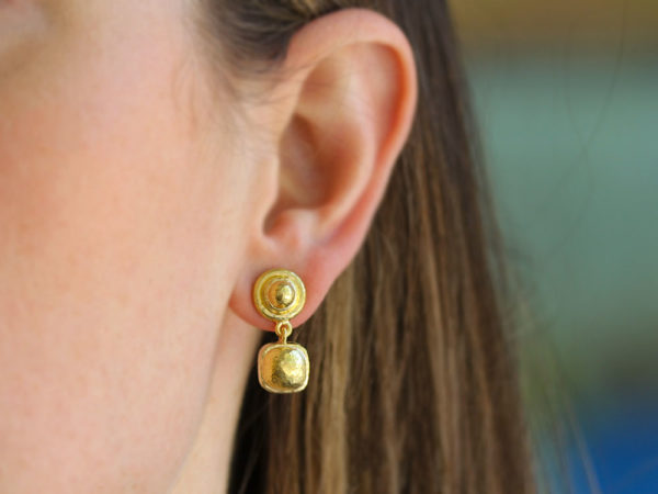Elizabeth Locke Gold Drop Top Stud Earrings with Swinging Gold Dome Cushion Bottom