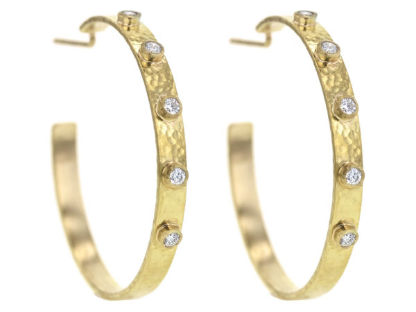 Elizabeth Locke Diamond Narrow Flat Ribbon Hoop Earrings thumbnail