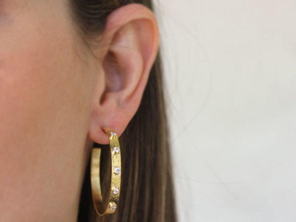 Elizabeth Locke Diamond Narrow Flat Ribbon Hoop Earrings