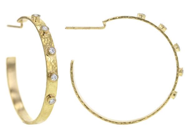 Elizabeth Locke Diamond Narrow Flat Ribbon Hoop Earrings model shot #2