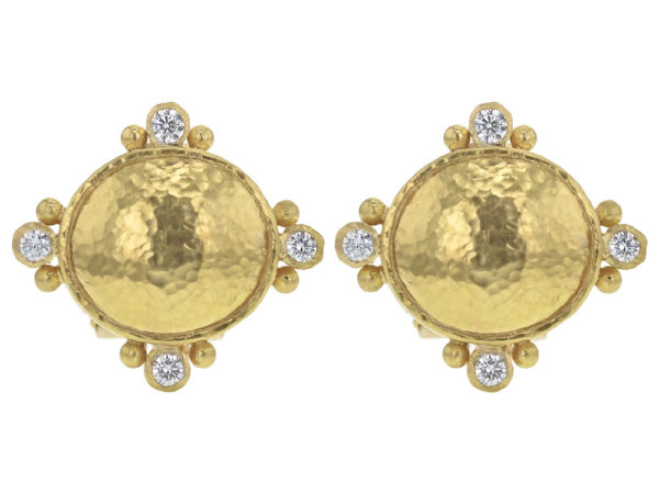 Elizabeth Locke Horizontal Gold Domed Oval Earrings with Diamonds thumbnail