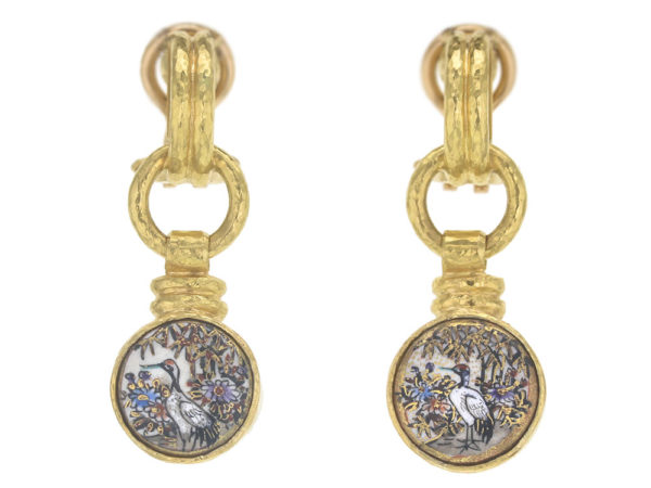 """Elizabeth Locke Antique Satsuma Button """"Floral with Birds"""" Double-banded Cheerio with Topknot Drop Earrings thumbnail"""
