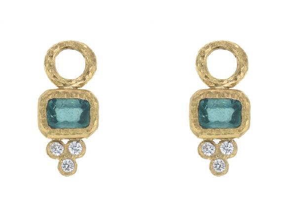 Elizabeth Locke Horizontal Cushion Blue Tourmaline Earring Charms for Hoops with Diamond Triad thumbnail