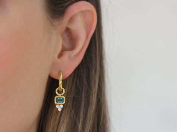 Elizabeth Locke Horizontal Cushion Blue Tourmaline Earring Charms for Hoops with Diamond Triad