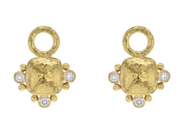 Elizabeth Locke Gold Domed Square Cushion Earring Charms with Diamonds for Hoops thumbnail