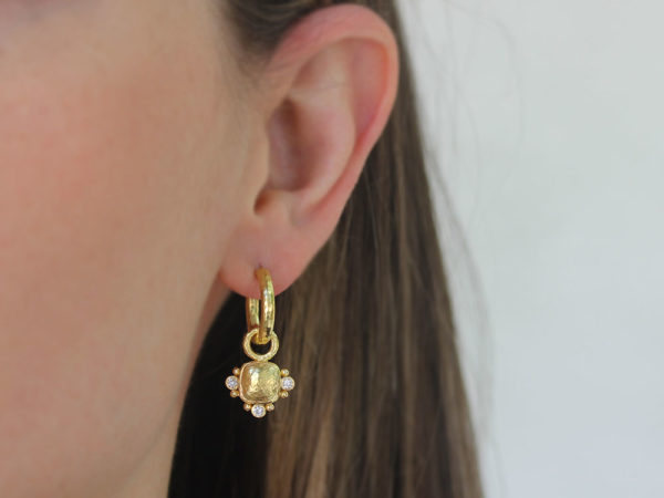Elizabeth Locke Gold Domed Square Cushion Earring Charms with Diamonds for Hoops