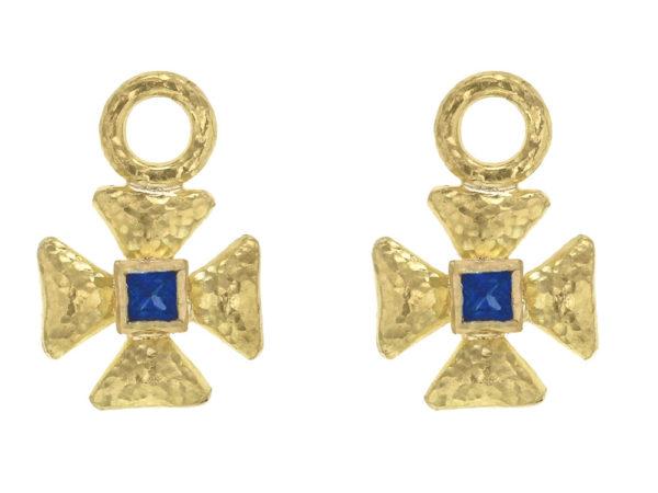 Elizabeth Locke Small Maltese Cross Earring Charms for Hoops with Blue Sapphire center thumbnail