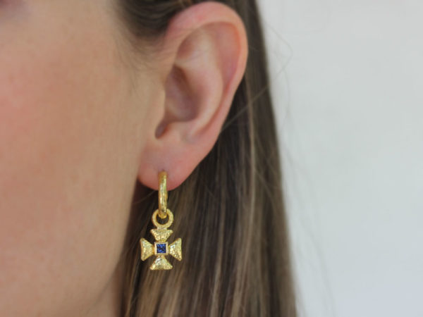 Elizabeth Locke Small Maltese Cross Earring Charms for Hoops with Blue Sapphire center
