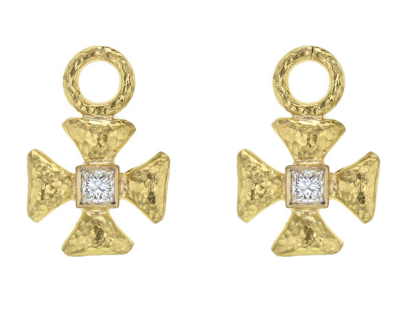 Elizabeth Locke Small Maltese Cross Earring Charms for Hoops with Diamond Center thumbnail