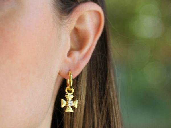 Elizabeth Locke Small Maltese Cross Earring Charms for Hoops with Diamond Center model shot #1